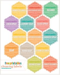 Free cleaning labels/printables from the handmade home for all your DIY cleaning products