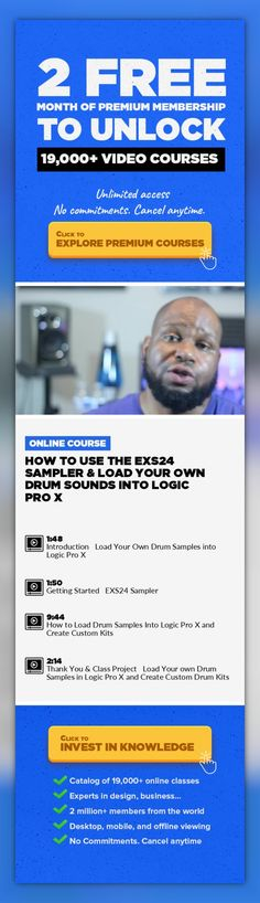 How to use the EXS24 Sampler & Load Your Own Drum Sounds into Logic Pro X Music Production, Sound Design, Creative, Logic Pro X, EXS24 Sampler, Drum Samples, Create Custom Drum Kit, Drum Sounds #onlinecourses #onlinedegreeformoms #onlinelessonsinternetsafety   If you can't stand Logic Pro X's stock drum sounds and would like to learn how to load your own custom drum samples or sounds then you are ...