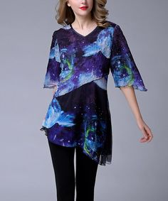 Another great find on #zulily! Blue Floral Asymmetrical Tunic - Plus Too #zulilyfinds