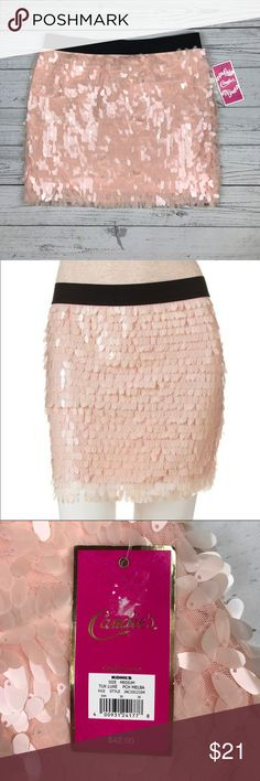 Candie's Blush Sequin Mini Skirt NWT. Stretchy waistband, fully lined. Really pretty blush pink color. Waistband 15'' Length top to bottom 15'' Candie's Skirts Mini