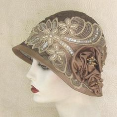 Summer Wedding Hat in Taupe with Sequins and Beads (I adore this!)