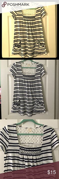 Meadow Rue (Anthropologie) striped shirt This adorable shirt is highly sought after! Cute ruching at neck and pockets at hips. Lacy detailing at back of neck. Purchased from Anthropologie. 63% cotton, 37% polyester, machine wash cold. Anthropologie Tops Tees - Short Sleeve
