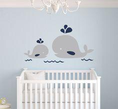 Nautical Mom and Baby Whale Wall Decal - Nautical Decor - Baby Nursery Decor #Nautical