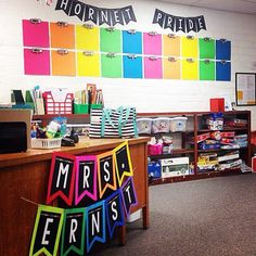 shared a sneak peak of her classroom using the hashtag Double tap this photo if you love back-to-school classroom inspiration! First Grade Classroom, Classroom Design, Future Classroom, School Classroom, Kindergarten Classroom Organization, Classroom Organisation, Classroom Displays, Classroom Themes, Classroom Banner
