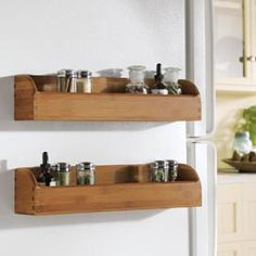MagnaRack sells high quality bamboo products, magnetic spice rack, kitchen & office organizers, magnetic storage shelf, with super magnets built in. Magnetic Spice Racks, Magnetic Storage, Magnetic Wall, Fridge Shelves, Bamboo Shelf, Kitchen Organization, Home Kitchens, Floating Shelves, Kitchen Decor