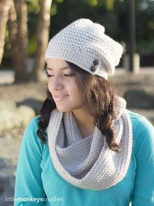 Savannah Slouch & Infinity Scarf Crochet Pattern Set | Free infinity scarf and slouchy hat crochet patterns by Little Monkeys Crochet