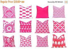 15% Off Sale Pink Euro Sham Pillow Cover, Teen Room Decor, Throw Pillow, Decorative Throw Pillow, Accent Pillows  Hot Pink Nursery Decor Hot