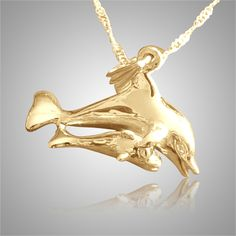 The Daddy & Baby Dolphins Cremation Jewelry is gold plated and crafted by an artistic skilled jeweler one at a time. The quality is excellent and the craftsmanship is outstanding. This Keepsake Pendant holds a small amount of remains, a piece of hair or something that is small enough to memorialize your loved one and bring them close to your heart.