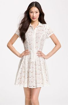 BCBGMAXAZRIA Lace Overlay Shirtdress available at #Nordstrom