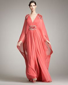 Plunging-V Caftan Gown - Neiman Marcus