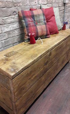 Rustic handmade reclaimed wood hall bench storage box by FabulousTashEmporium on Etsy