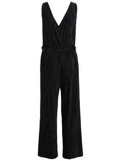 PLISSERET VELOUR JUMPSUIT, Black, large