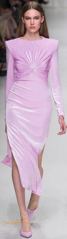Versace Spring 2018 RTW #MFW #ss18 lilac velvet dress