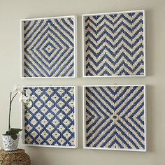 DIY- frame fabric like this for guest bathroom--- Basket Weave Art Plaque Flax Weaving, Bamboo Weaving, Paper Weaving, Weaving Art, Tapestry Weaving, Loom Weaving, Hand Weaving, Weaving Designs, Weaving Projects