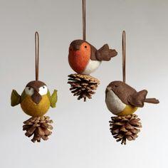 Felt birds ornaments