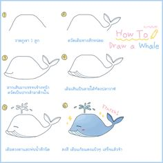 how to draw a whale in 6 steps