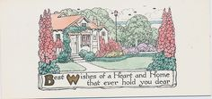 """""""Best Wishes of a Heart and Home that ever hold you dear"""" Vintage Christmas cards  This card is part of the Dulah Evans Krehbiel Card Collection at the National Museum of Women in the Arts (NMWA) Betty Boyd Dettre Library and Research Center (LRC) http://nmwa.org/learn/library-archives  Publication date: 1911"""