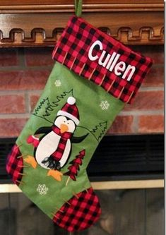 Cool 50 Amazing Christmas Stockings Ideas For Décor. # - Emma Lee home Diy Christmas Stocking Pattern, Quilted Christmas Stockings, Xmas Stockings, Christmas Sewing, Noel Christmas, Homemade Christmas, Winter Christmas, Childrens Christmas, Babies First Christmas
