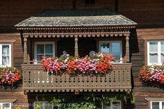 beautiful austrian balconies | balcony with geraniums, Austria