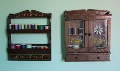 Thrifted spice racks for thread storage.  maybe better with a paint job unless the kitsch is divine.