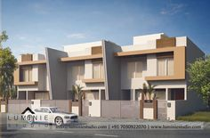 House Front Wall Design, Row House Design, Village House Design, Duplex House Design, Modern Bungalow Exterior, Modern Exterior House Designs, Modern House Plans, Townhouse Exterior, Modern Townhouse