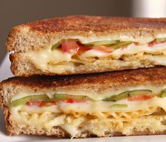 Grilled Cheese with Tomato, Pickles and Potato Chips. Probably the only grilled cheese sandwich I would like.