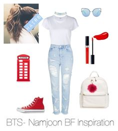"""""""BTS- Namjoon Best Friend Inspiration"""" by zucca0 on Polyvore featuring Burberry, RE/DONE, Topshop, Converse, Matthew Williamson, Charlotte Russe, BP., Forever 21, Christian Dior and Lulu Guinness"""
