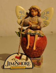 Jim Shore Heartwood Creek Fairy Sitting on Apple Figurine 4014979 NEW by BackPorchVentures on Etsy