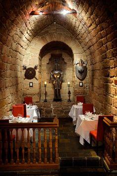 The atmospheric Dungeon Restaurant in Dalhousie Castle Midlothian Scotland south Edinburgh Scotland Castles, Scottish Castles, Edinburgh Castle, Edinburgh Scotland, The Places Youll Go, Places To Go, Scotland Travel Guide, Just Dream, Abandoned Places