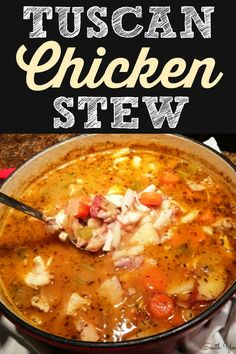 A hearty country Italian chicken stew recipe with white beans and red potatoes. Tuscan Chicken Stew - A hearty country Italian chicken stew recipe with white beans and red potatoes. Vegetable Soup With Chicken, Vegetable Soup Recipes, Chicken Soup Recipes, Chicken And Vegetables, Chicken Tuscan Soup, Chicken Stew With Potatoes, Chicken Tomato Soup, Chicken Soups, Pesto Chicken