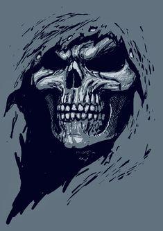SKULL RIP T-SHIRT ~ Shredder Tee ~ Evil Red Eyed Breakthru Ripped