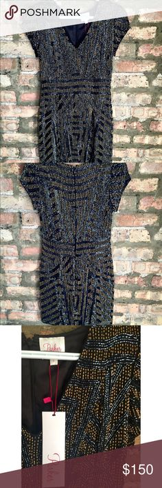 Black & gold Beaded Parker Dress Beautiful, fully beaded Parker dress in size Small. New with tags. Just doesn't fit me. Parker Dresses