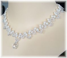 White Pearl and Crystal Bridal Statement by BridalDiamantes
