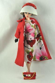 "Ooak Barbie/Silkstone Fashion by P. Linden 10 pc. ""Rouge et Floral"" #FITSVINTAGEREPRODUCTIONSANDSILKSTONEBARBIE"