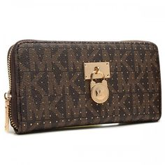 Michael Kors Hamilton Continental Large Coffee Wallets