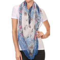 Multi Flower Print Lightweight Blanket Scarf