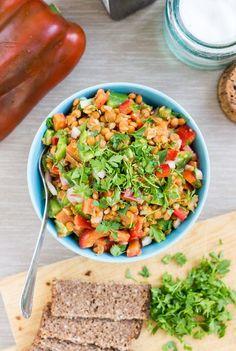 Turkish Lentil Salad. Ready in 7 minutes | #lunch #vegan | hurrythefoodup.com