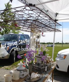 ChiPPy!-SHaBBy! Outdoor Booth Space  Grayslake Flea, Illinois RE-PURPOSED BED SPRING CANOPY w/butterflies!*!*!