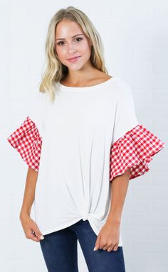 giddy for gingham knotted top