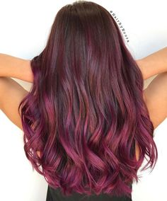 Burgundy to Magenta Long Ombre Hair