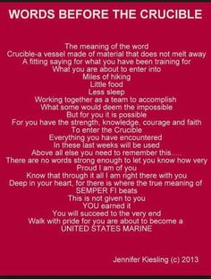 At my son and his brothers begin the final test of USMC boot camp, The Crucible, 54 hours of hell. Marine Mom Quotes, Usmc Quotes, Military Quotes, Military Mom, Military Party, Once A Marine, My Marine, Marine Life, Marine Sister