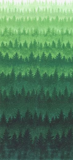 A Cardinal Christmas - Pine Forest Ombre - Green/Silver