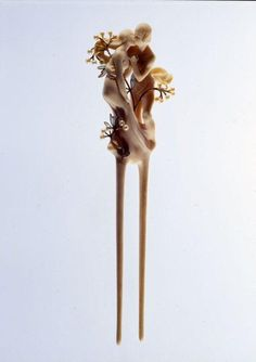 Paul & Henri Vever - Daphne and Chloe Hairpin.  Ivory, gold, pearls, and translucent enamel.  Circa 1900. Les Arts Décoratifs, Paris.