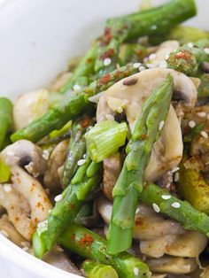 This chicken and asparagus stir-fry makes creative use of Chinese and Thai seasonings to produce a delicious stir-fry recipe.
