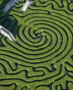Aerial view of the maze at Longleat House in Wiltshire