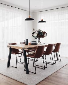 The dining room was one of my favourite spaces that came together last week 🍽 It has such a calmness about it and the most divine morning… Dining Room Inspiration, Home Decor Inspiration, Dining Room Design, Dining Room Table, Carpet Dining Room, Dining Room Curtains, Modern Dining Table, Home Interior Design, Nordic Interior
