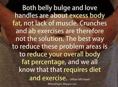 motiveweight:  Both belly bulge and love handles are about excess body fat, not lack of muscle. Crunches and ab exercises are therefore not the solution. The best way to reduce these problem areas is to reduce your overall body fat percentage, and we all know that that requires diet and exercise. -Jillian Michaels