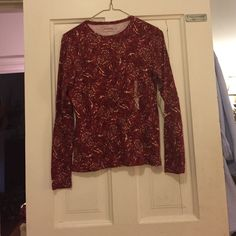 Selling this Red with designs pull over shirt! in my Poshmark closet! My username is: tmprincess. #shopmycloset #poshmark #fashion #shopping #style #forsale #St. John's Bay #Tops