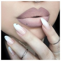 """Nailhur Flawless Stiletto Set (natural ombré)...Lips are NYX """"Embellishment"""" Lip Lingerie mixed with """"Milk"""" Jumbo Pencil by MUA @depechegurl  ♡♥♡♥♡♥"""