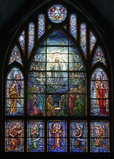 Another image of the Ascension window:   Commissioned for over the altar at Grace Church, this Tiffany was given in memory of former rector, the Rev. George Patterson, by Mrs. W.A. Gate and the installation was supervised by Tiffany himself.  The surrounding panels comprise the All Saints Window, the later work of Payne-Spiers Studios, given by the parish from 1949-1954 to complete this magnificent tribute above the main doors and narthex of the merged church.